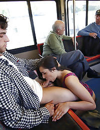 Brunette exhibitionist Anastasia Black giving a blowjob on public bus