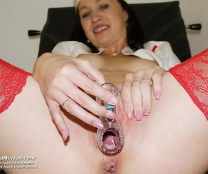 Wily nurse agata opens the brush vulva wide nearby gyn instrument on gyn - fidelity 244