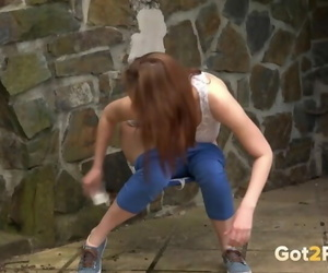 Suntanned pulls down denims to piss outside - part 753