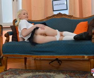 Hot blonde newborn lola playing with the brush pussy upskirt exceeding divan - fastening 73